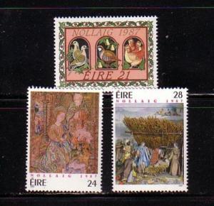 Ireland Sc 703-5 1987 Christmas stamp set mint NH