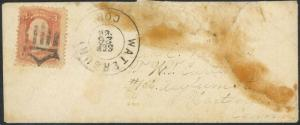 65, USED ON RARE WATERBURY CT. COVER - FANCY CACNEL