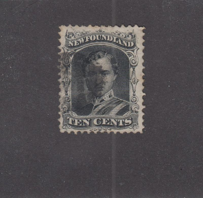 NEWFOUNDLAND # 27 VF-LIGHT USED 10cts PRINCE ALBERT CAT VALUE $80