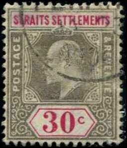 Straits Settlements SC# 100  Edward VII 30c Used