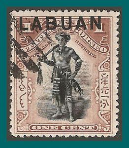 Labuan 1901 Dyak Chief, cancelled  72a,SG89b