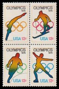 PCBstamps    US #1695/1698a Block 52c(4x13c)Winter Olympics Games, MNH, (8)