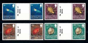 [71881] Falkland Islands Dep. 1984 Marine Life Crustaceans 4 Gutter Pairs MNH