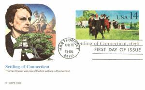 #UX109 Settling of Connecticut Post Card - Fleetwood Cachet