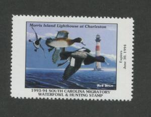 SOUTH CAROLINA #13 1993 STATE DUCK STAMP LESSER SCAUP/LIGHTHOUSE by Bob Bolin