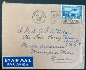 1939 Vancouver Canada Airmail Cover To Fort Garry Horse Winnipeg
