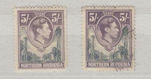 Northern Rhodesia KGVI 1938 5/- x 2 SG43 MVLH/VFU J9638