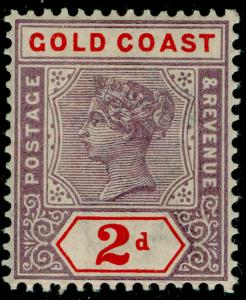 GOLD COAST SG27b, 2d Dull Mauve & Orange Red, M MINT. Cat 50.