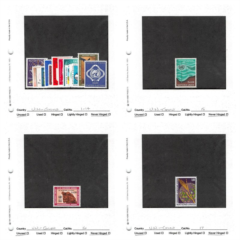 Lot of 61 U.N. United Nations Geneva MNH Stamps Scott Range # 1 - 86 #149737 X R