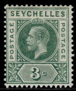 SEYCHELLES GV SG72, 3c green, M MINT.
