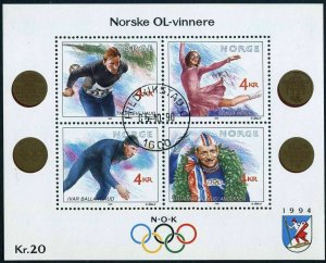 Norway 1035,MNH.Michel 1119-1122 Bl.19. Olympics Lillehammer-1992.Gold medalists