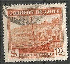 CHILE, 1938  used 1p,Fishing Scott 205