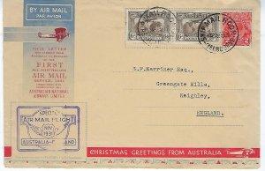 AUSTRALIA SCOTT #C3 (2) 1931 6P (OLIVE BROWN )+ GEORGE V 2D (RED) ON COVER