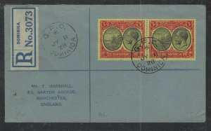 DOMINICA  COVER (P1902B) 1928 KGV 3D BOATX2 ON REG COVER TO ENGLAND