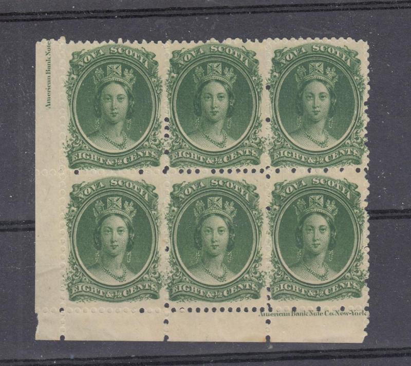 NOVA SCOTIA  # 11 MNH WITH PART INSCRIPTION TINY GUM SMUDGE ON 2 CAT VALUE $240+