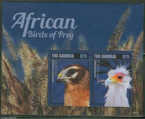 GAMBIA 2014 AFRICAN BIRDS OF PREY   SOUVENIR SHEET   MINT NH