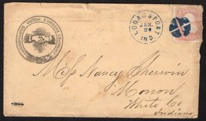 US#65 Rose - On Early Merchants Union Express Company Cover - With Enclosure