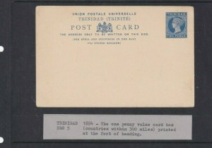TRINIDAD  POSTAL STATIONARY 2D UNUSED 1884/85 FOR INDIA AND FAR EAST VIA UK