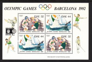 Ireland 855a Olympics With Private Overprint Footnoted Souvenir Sheet MNH VF