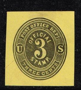 US STAMP REVENUE BOB # UO7 3c Official 1874-79 CUT SQ Stamp