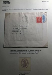 1951 Woking England House Of Commons Cover To New York USA economy Label