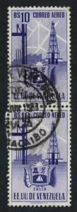Venezuela Arms issue State of Zulia 10Bs pair KEY VALUE 1951 Canc SC#C355