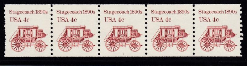 United States 4c Stagecoach Plate Number Coil Strip of 5 Nr.-1 VF+/Never Hinged