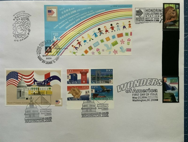 Washington Stamp Expo Wonders Gutter Pair Hong Kong Netherlands Antilles