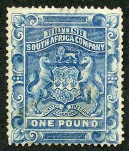 Rhodesia SG10 1892 One Pound Deep Blue Cleaned