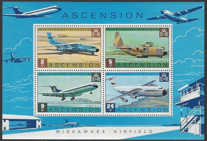 Ascension #188a MNH Souvenir Sheet of 4 Aircraft