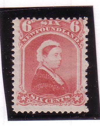 Newfoundland Sc 35 1870 6 c dull rose Victoria stamp mint NH