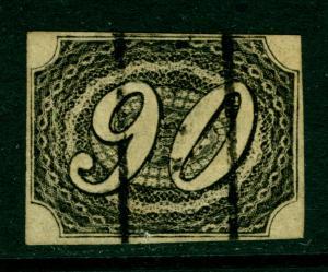 BRAZIL 1844  Slanted Numerals  90r intense black  TYPE I  Scott # 10 used VF