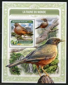 TOGO 2016  FAUNA OF THE WORLD  ARGENTINA'S OFFICIAL  BIRD  S/S  MINT NH