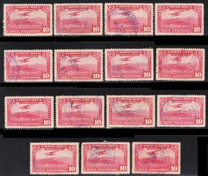 Costa Rica Scott C16 F to VF used x 15 stamps. All fault free.