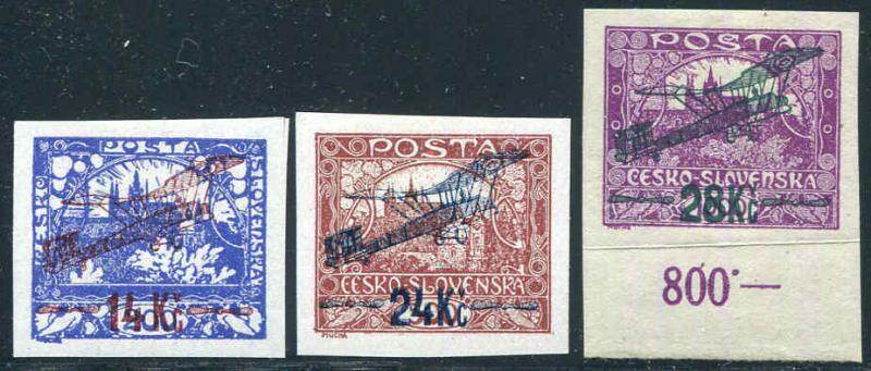 Czechoslovakia C1-C3 imperf,MH.Michel 192A-194A. Air Post 1920