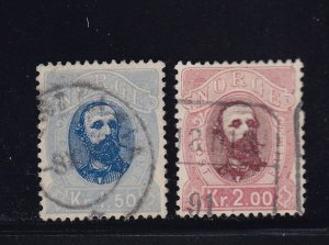 Norway Scott # 33 - 34 VF used neat cancels nice color cv $ 78 ! see pic !
