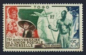 Togo C18,MNH.Michel 217. UPU-75,1949.French Colonials,Globe,Plane.