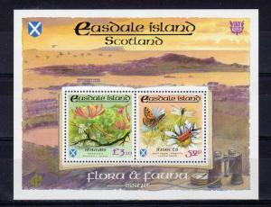 Easdale Island (Scotland) 1991 Butterflies/Insects/Shrubs Compound S/S MNH