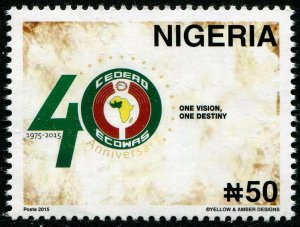 HERRICKSTAMP NEW ISSUES NIGERIA Sc.# 875 2015 Africa ECOWAS Joint Issue