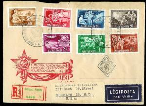HUNGARY FDC Sc#968-971, C91-93 set registered mailed to USA 1951