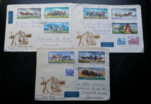 """RARE HUNGARY 1968 """"HORSES"""" REGISTERED 02 POSTALY USED 1ST DAY COVERS TO CANADA H"""