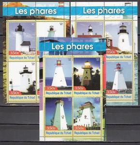 Chad, 2003 issue. Lighthouses on 3 sheets of 4. *