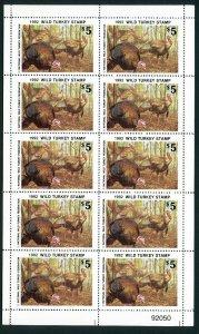 NATIONAL WILD TURKEY FEDERATION STAMP 1992 FULL SHEET OF 10 .Reg $35 single