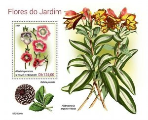 Sao Tome & Principe 2021 MNH Garden Flowers Stamps Gloxinia Plants 1v S/S
