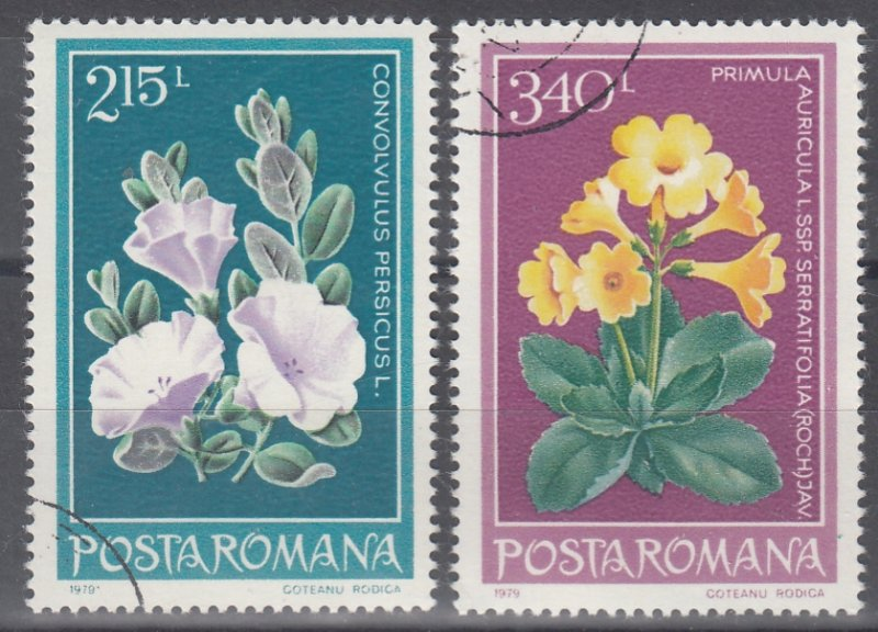 Romania, Sc 2827-2828, CTO-NH, 1979, Protected Flowers