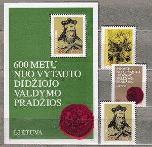 LITHUANIA 1993 Grand Duke Vytautas MNH(**) Mi 518-520 Bl 3 #HS24