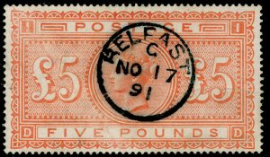 SG137, SCARCE £5 orange, FINE USED, CDS. Cat £4750. DD