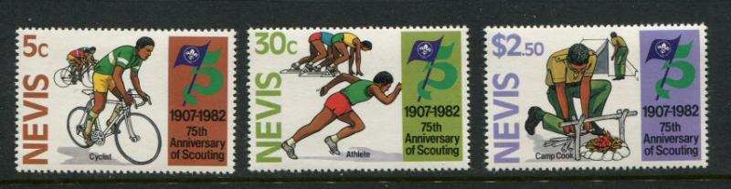 Nevis #156-8 MNH Scouting