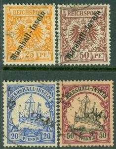 EDW1949SELL : MARSHALL ISL 1899-1901 Sc #11-12, 16, 20 Choice & VF Used Cat $124