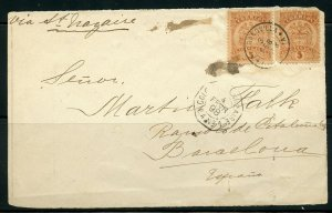 COLOMBIA BARRANQUILLA 2/3/1898 FRONT ONLY TO BARCELONA VIA ST NAZAIRE AS SHOWN